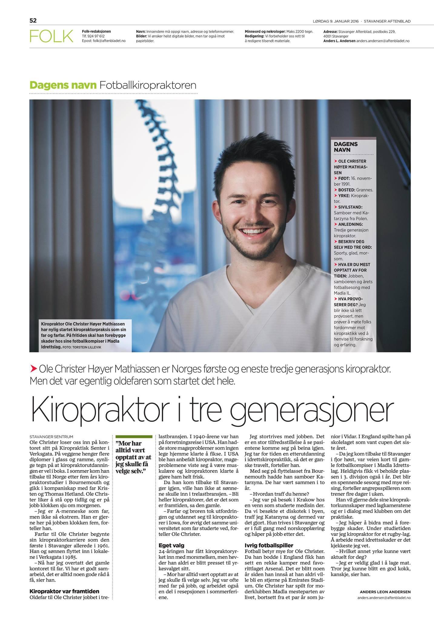 Kiropraktor i tre generasjoner
